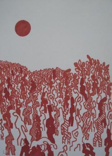 peinture,dessin,société,foule