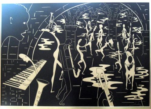 dessin,encre de chine,peinture,musiciens,danse